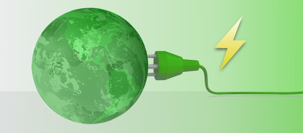 Eine grüne Weltkugel mit grünem Stromstecker und gelbem Blitz vor grünem Hintergrund