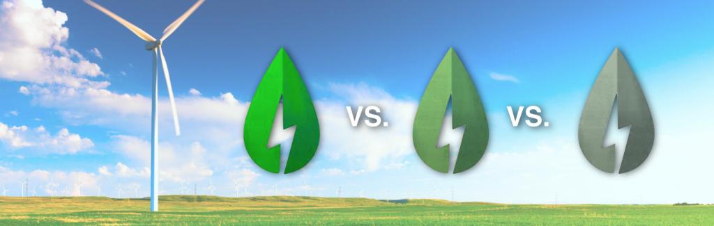 Ein Windkraftrad mit blauem Himmel und freiem Feld mit drei grünen Blatt Symbolen, die Grünstrom symbolisieren