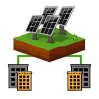 Vier Solarpanels und zwei Gebäude, die die zwei Grünstrom Anbieter Arten symbolisieren