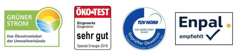 Auszeichnungen und Grünstrom Siegel vom Grünstrom Anbieter Die Bürgerwerke