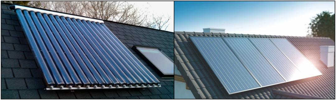 Zwei verschiedene Typen der Solarthermie nebeneinander. Links Röhrenkollektoren und rechts Flachkollektoren.