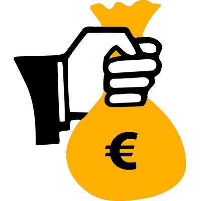 Eine Hand, die einen Geldsack hält und damit den finanziellen Aspekt von Solaranlagen symbolisiert