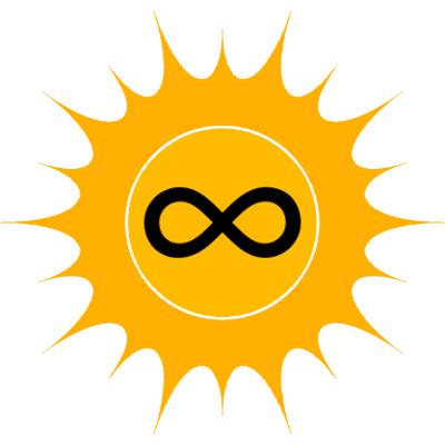 Eine gelbe Sonne mit Symbol der Unendlichkeit als Zeicher der Unerschöpflichkeit der Solarenergie