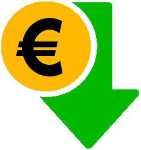 Eine gelbe Münze mit Euro Zeichen mit grünem Pfeil, der nach unten zeigt