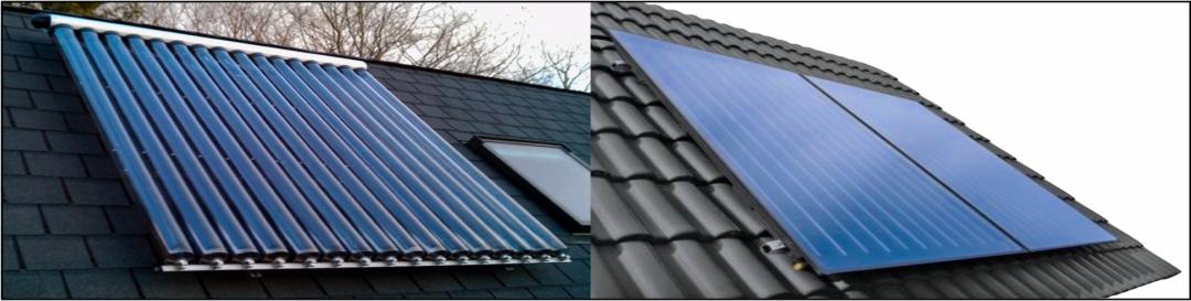Zwei verschiedene Arten von Solarplatten: Links Röhrenkollektoren und rechts Flachkollektoren