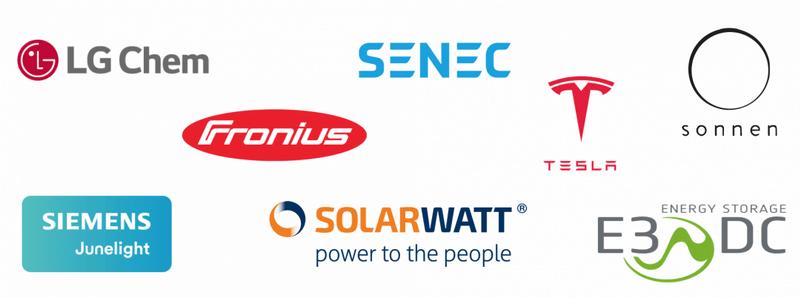 Acht Logos von verschiedenen Anbietern für Stromspeicher