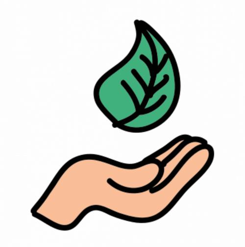 Strom selbst erzeugen - Umwelt Symbol - offene Hand mit Blatt
