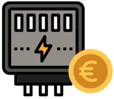 Ein Stromzähler Icon mit Euro Münze