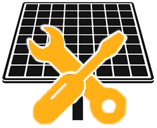 Ein Solarmodul mit Schraubenzieher und Schraubschlüssel