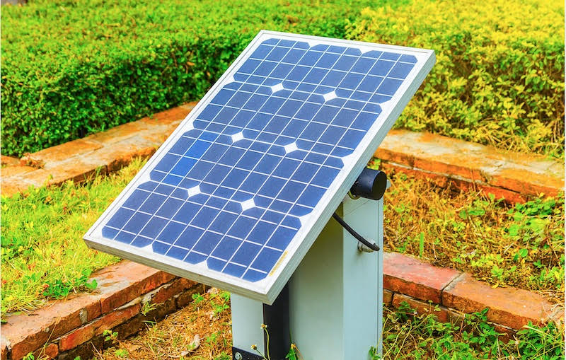 Mini PV-Anlage aufgestellt vor einem Hintergrund mit Pflanzen