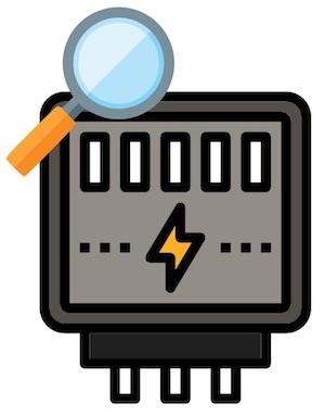 Icon eines Stromzählers mit Lupe