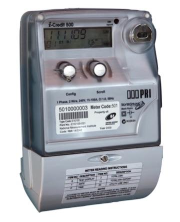 Ein silberner digitaler Stromzähler