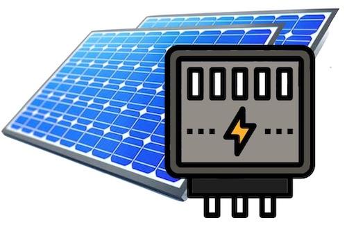 Zwei Solarpanel in blau und ein Icon eines Stromzählers im Vordergrund