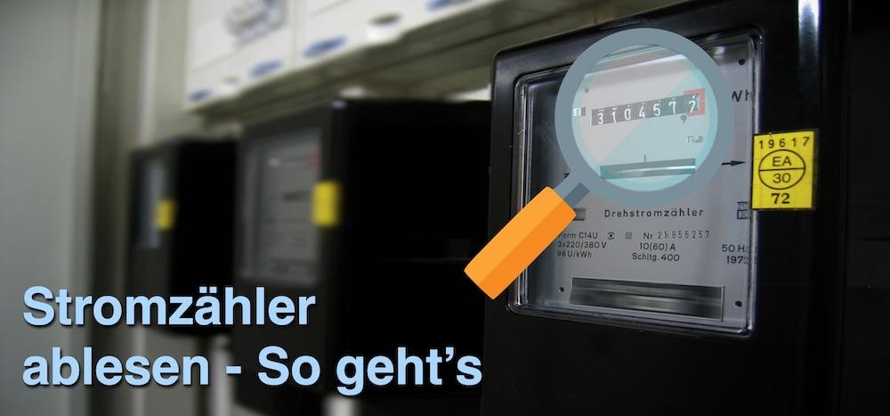 """Drei analoge Stromzähler mit Icon einer Lupe und blauer Schrift """"Stromzähler ablesen - So geht's"""""""