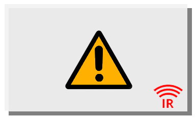 Eine weiße Infrarotheizung mit Gefahr-Symbol