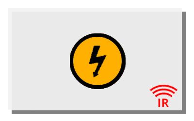 Eine weiße Infrarotheizung mit gelbem Strom Icon