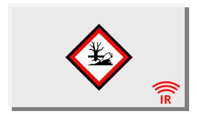 Eine weiße Infrarotheizung mit Icon, das Umweltschädlichkeit symbolisiert