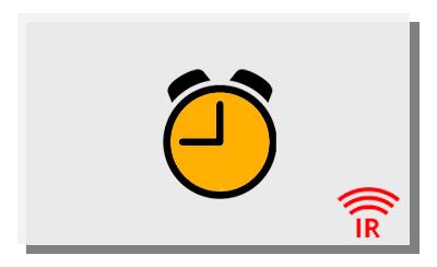 Eine weiße Infrarotheizung mit gelber Uhr, die die Dauer der Raumerhitzung symbolisiert