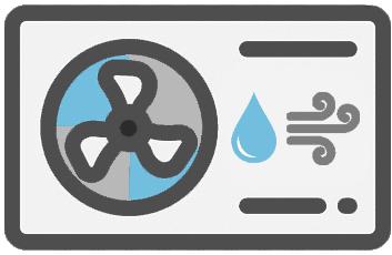 Ein blau-graues Icon einer Luft-Wasser-Wärmepumpe