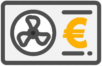 Ein Icon einer Wärmepumpe mit Euro Symbol
