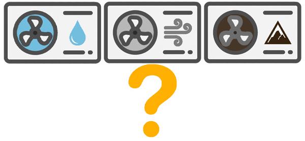 Drei Icons verschiedener Wärmepumpen mit gelbem Fragezeichen