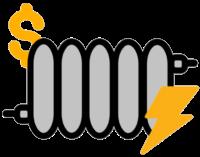 Elektroheizung mit Geld Symbol