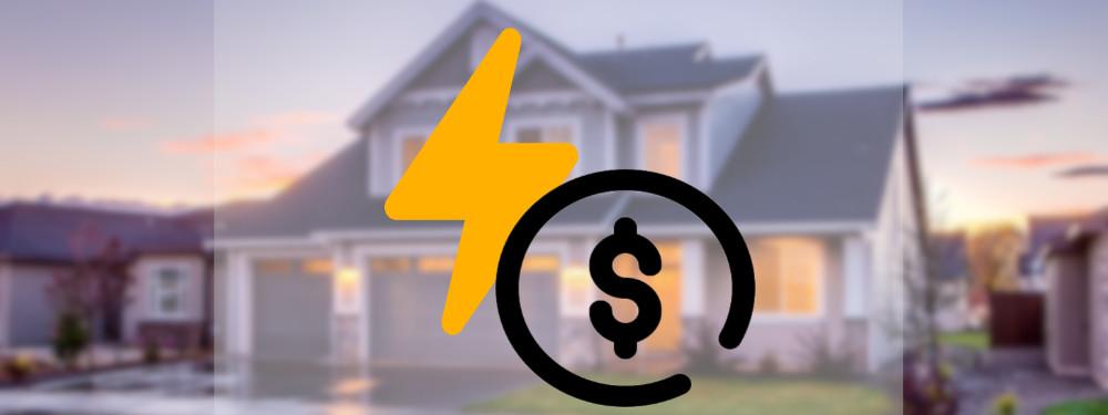 Ein Elektrizitätsymbol und Geldsymbol mit Haus im Hintergrund