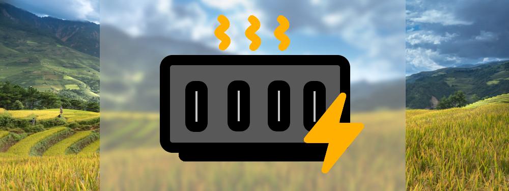 Ein Icon einer Elektroheizung mit Natur im Hintergrund
