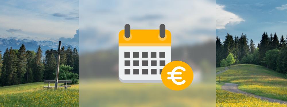 Die Stromkosten pro Jahr dargestellt durch einen Kalender und einer Euromünze vor einem Naturhintergrund