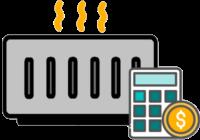 Elektroheizung und Taschenrechner Icons, die Stromkosten symbolisieren