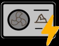 Icon einer Erdwärmepumpe mit Elektrizitätssymbol