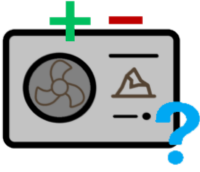 Erdwärmeheizung mit grünem Plus, rotem Minus und blauem Fragezeichen