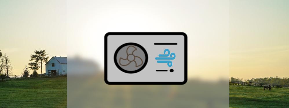 Icon einer Lufwärmepumpe mit Natur im Hintergrund