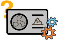 Ein Erdwärmepume Icon mit Fragezeichen und Zahnrädern