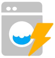 Eine graue Waschmaschine und ein gelbes Stromsymbol