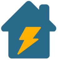 ein blaues Haus mit gelbem Stromsymbol