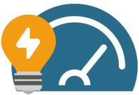 eine Grlühbirne mit Messgerät, die die Strommessung symbolisieren