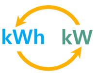 kWh, kW und zwei orangene Pfeile