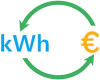 kWh, ein gelbes Euro Symbol und zwei grüne Pfeile