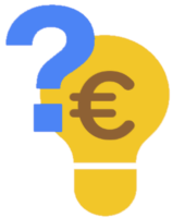 Eine Glühbirne mit Euro Zeichen und bauem Fragezeichen