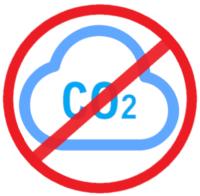Eine Wolke mit CO2 mit rotem durchgetrichenen Kreis