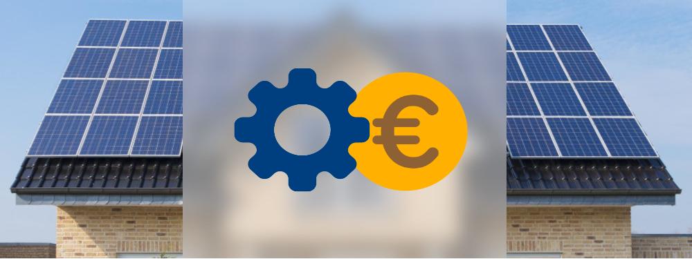 Eine PV-Anlage auf einem Hausdach, im Vordergrund ein Zahlrad und ein Euro Symbol