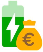 Eine grüne Solarbatterie mit Geld Symbol