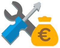 Ein Schraubenzieher und Schraubenschlüssel mit Geld Symbol