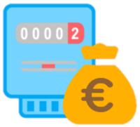 Ein blauer Smart Meter mit Geld Symbol