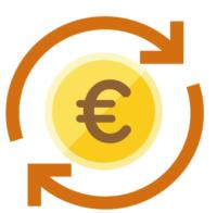 Eine Euromünze und zwei runde Pfeile, die die Einnhmen darstellen