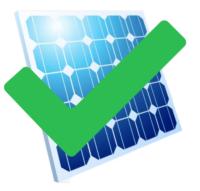 Ein blaues Photovoltaikmodul mit grünem Haken