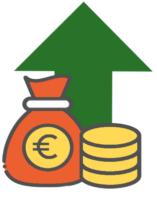 Ein grüner Pfeil mit Geld Symbol
