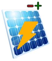 Ein PV-Modul mit gelbem Stromsymbol, grünem + und rotem - Symbolen