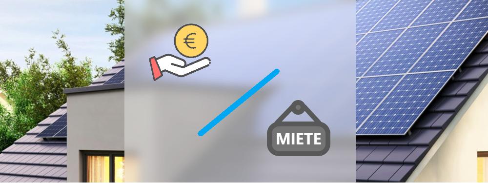 Eine PV-Anlage auf einem Dach mit einem Kauf-Symbol und einem Symbol der Miete
